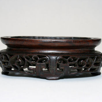 Antique Chinese Rosewood Carved Jade Stand Pedestal Signed 2x Langweil 19th Century Asian Carving China