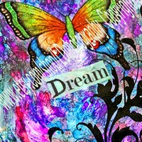 ACEO Dream Butterfly art trading card metallic photo collage