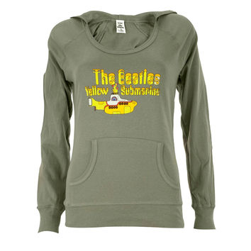 Beatles - Yellow Sub Wide Neck Juniors Hoodie