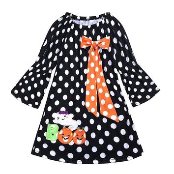 Toddler Kids Baby Girl Halloween Dress Long Sleeve Polka Dot Pumpkin Print Princess Girls Festival Party Costume Outfits Dress