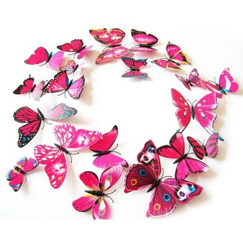 Colorful 3D Butterfly Wall Stickers Posters Magnet Butterfly Fridge Magnets Decoration Vintange Poster Stickers For Rooms Decor