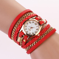Leather Wrap Bracelet Watch - Red