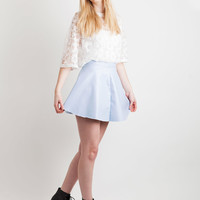 Pastel Blue Faux Leather Skater Skirt