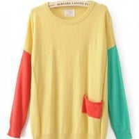 Color Block Round Neck Yellow Sweater - Designer Shoes|Bqueenshoes.com