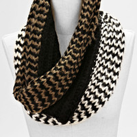 Ombre Two Toned infinity Knitted Fashion Scarf Black Gold