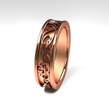 Wide filigree ring made from rose gold, diamond ring, man wedding band, men rose gold ring, filigree ring, unique, men filigree, wide ring