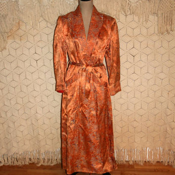 Vintage Dressing Gown 20s 30s 40s Robe Bathrobe Satin Brocade Copper Asian Toile Pagoda Print Art Deco 1920 1930 1940 Vintage Women Clothing