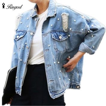 Pearls Beading Ripped Denim Jacket Women Single Breasted Vintage Autumn Jean Jackets and Coats Plus Size Casual Jaqueta Jeans