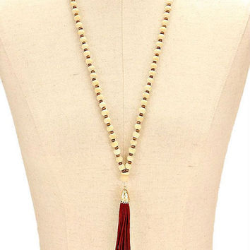 Gold, Natural & Red Tassel Drop Wood Bead Strand Long Necklace
