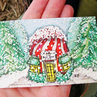 Candy Cane Miniature Shop Original OOAK Hand Painted Art Card ATC 2.5 x 3.5 Candy Cane House