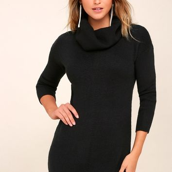 Tea Reader Black Sweater Dress