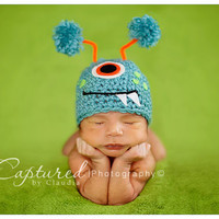 Baby Boy Girl Hat TURQUOISE MONSTER Newborn Baby Boy / Girl Crochet Hat More Colors Available 0-3 & 3- 6 months