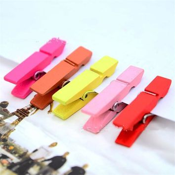 Mini Colorful Home Portable Wooden Clothe Photo Paper Peg Clothespin Craft 10Pcs/lot Clips