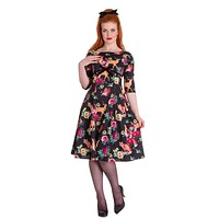 Hell Bunny Retro Hermeline Forest Animals & Flower Print Wonderland Flare Dress