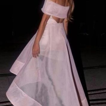 Always Chic Light Pink Organza Off The Shoulder Cut Out Back High Low Asymmetric Maxi Dress