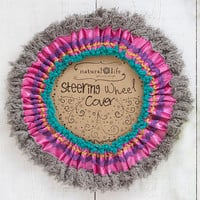 Fringe Pink Grey Steering Wheel Cover
