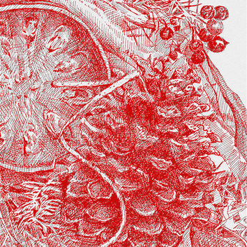 Red Wreath Drawing Reproduction Print- Dark Red- Christmas. Holiday, Winter Decor- Pen and Ink Drawing