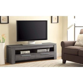 """59"""" TV Console with Open Shelf and 2 Drawers, Gray By Coaster"""