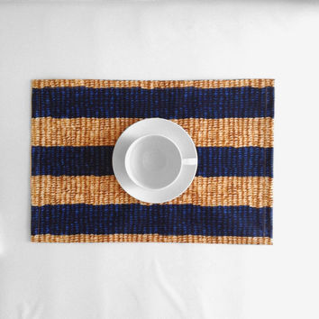Blue Stripes Woven Print Placemat, Laminated Cotton, Waterproof Table Mat, Wipe clean placemat