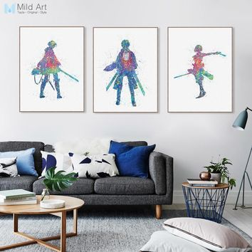 Cool Attack on Titan  Japanese Pop Animation Canvas Big Art Print Poster Wall Picture Paintings No Frame Triptych Kids Room Home Decor AT_90_11