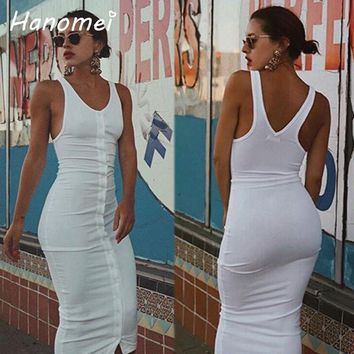 Sexy Sleeveless Ribbed Vest Vestidos High Waist Long Tank Dress Summer 2017 Fitted Bodycon Robe Femme Buttons Women Dresses C56