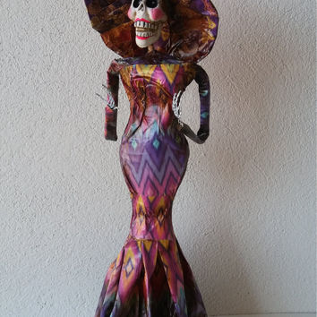 Day of the Dead Catrina doll, Sugar skull decoration, Dia de muertos, Mexican Sugar skull, Paper Frida Flower crown, La catrina Frida Kahlo