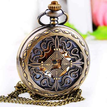 Mens Women Mechanical Pocket FOB Watch with Chain Free Shipping Hand Wind Skeleton Chinese Knot Fashion Steakpunk FOB Watches