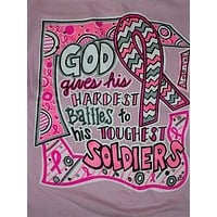 SALE Southern Chics Funny God Gives Battles Breast Cancer Chevron Pink Ribbon Girlie Bright T Shirt