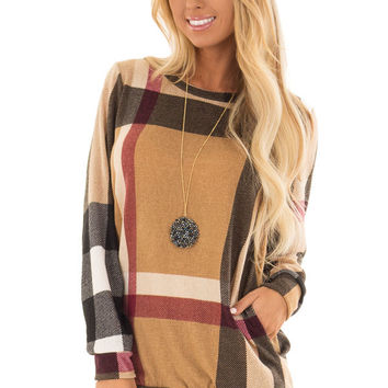 Camel Long Sleeve Plaid Top with Side Pockets