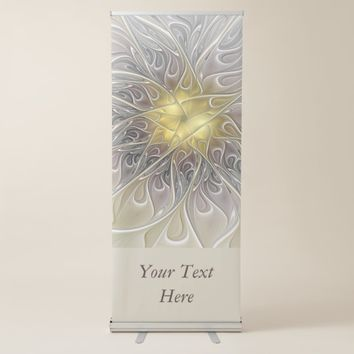 Flourish With Gold Modern Fractal Flower Text Retractable Banner