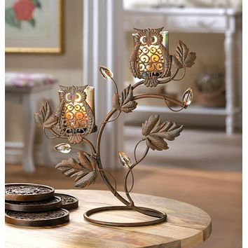 Rustic Duo Wise Owl Iron Candle Holder
