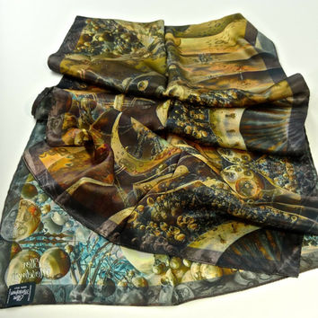 "Long Silk Satin Scarf - ""Kepler"" 3D Fractal Design, intelligent gifts, Surreal scarf"