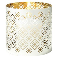 Lilly Pulitzer for Target Bullseye Pierced Metal Candle Holder - White with Gold Interior (5)""