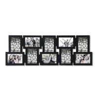Decorative Black Wood Interlocking Wall Hanging Collage Picture Photo Frame (10 Opening)