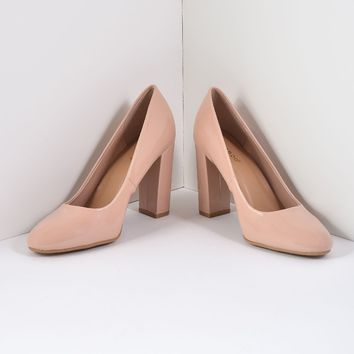 Nude Patent Leatherette Closed Toe Block Heel Pumps