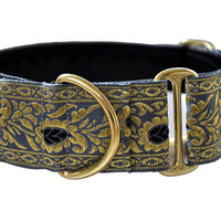 Martingale Collar: Gray and Gold Paisley Jacquard (1.5 Inch), Greyhound Collar, Whippet Collar, Custom Dog Collar, Custom Martingale