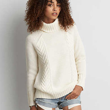 AEO Textured Turtleneck Sweater, Cream