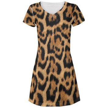 CREYCY8 Halloween Leopard Print Costume All Over Juniors Beach Cover-Up Dress