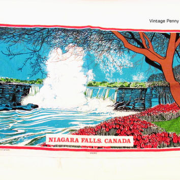 Vintage Niagara Falls Tea / Hand Towel, Printed Cotton Linen by Tony Paine
