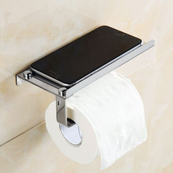 1Pc Stainless Steel Roll Towel Tissue Paper Holder Mobile Phone Shelf Rack Toilet Tissue Boxes Kitchen Bathroom Accessories