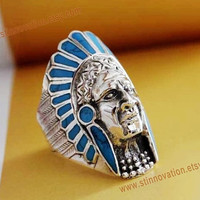 Steampunk Indian tribe chief portrait ring with turquoise---925sterling