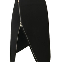 Black High  Waist Zip Up Asymmetric Hem Skirt