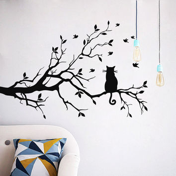 Cat On Long Tree Branch Wall Sticker Animals Cats Art Decal Kids Room Decor vinilos paredes U6627