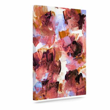 """Ebi Emporium """"Floral Spray 3"""" Purple Lavender Floral Abstract Painting Mixed Media Art Canvas"""