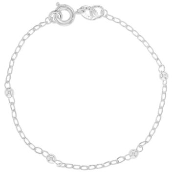 """Silver Plated Classic Thin Chain Ball Toddlers Girls Bracelet 5.5"""""""