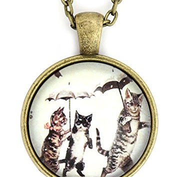 Cats in the Snow Necklace Silver Tone NV23 Vintage Umbrella Pet Kitty Art Print Pendant Fashion Jewelry