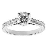 RenéSim Diamond Ring with Diamond-Set Ring Band D IF Brilliant-Cut