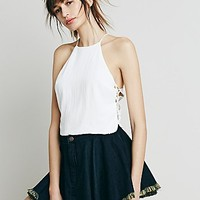 Free People Womens Raw Denim Fit and Flare Mini Skirt