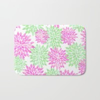 pink and green flowers Bath Mat by Sylvia Cook Photography