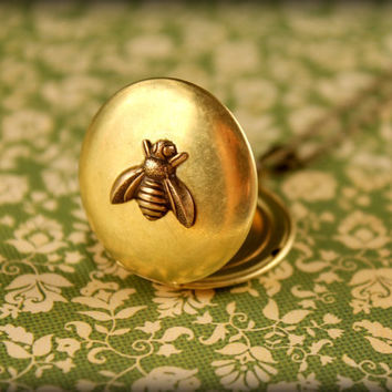 Brass Bee Locket Necklace by saffronandsaege on Etsy